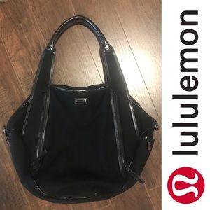 Lululemon Yoga Gym Bag - Black Wool & Faux Leather